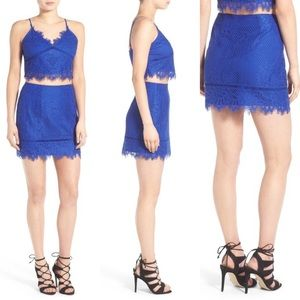 Lovers + Friends Blue Shimmer Lace Mini skirt